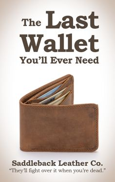Saddleback Leather Bifold Wallet in Tobacco | 100 Year Warranty | $50.00