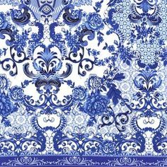 blue and white leopard designer fabric | ... House Designer - Blue and White - Blue and White Porcelain in Azure