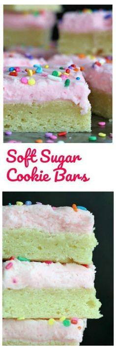 Frosted Soft Sugar Cookie Bars - Perfectly, simple, delicious, traditional sugar cookies transformed into soft, thick sugar cookie bars frosted with a cherry buttercream frosting that will knock your socks off!