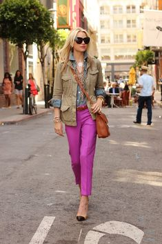 Purple pants, chambray shirt, army green jacket