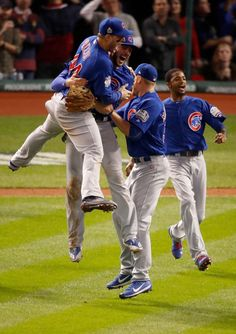 The Chicago Cubs celebrate after defeating the Cleveland Indians in Game Seven of the 2016 World Series at Progressive Field on November 2016 in Cleveland, Ohio. The Cubs win their first World Series in 108 years. First World Series, Chicago Cubs World Series, Cubs Players, Cubs Team, Cleveland Indians Game, Cleveland Ohio, Columbus Ohio, Bear Cubs, Grizzly Bears