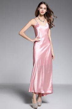 Shop Affordable A-line V-neck Ankle-length Silk Pink Evening Dress Online. Occasion Dresses With Silk Satin Dress, Satin Dresses, Elegant Dresses, Satin Nightie, Silk Nightgown, Evening Blouses, Evening Dresses Online, Dress Online, Pijama Satin