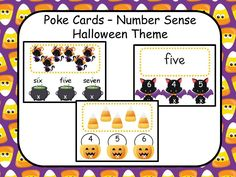 Poke Cards - Number Sense - Halloween Theme from Sally's Educational Resources