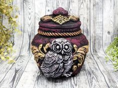 Owl Apothecary Jar Potion Bottle / Apothecary Bottle Pagan image 0 Apothecary Decor, Apothecary Bottles, Wiccan Decor, Wiccan Altar, Witch Jewelry, Pagan Jewelry, Witch Potion, Floral Texture, Witchcraft Supplies