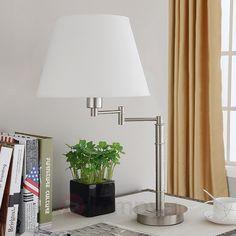 Lampa stojąca z abażurem z tkaniny na wysięgniku 9620655