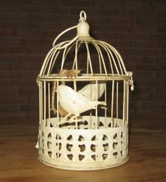 Edler Deko Metall Vogelkäfig Antik Weiß Vogelmotiv 26x15,5 cm Shabby Nostalgie Optik: Amazon.de: Küche & Haushalt