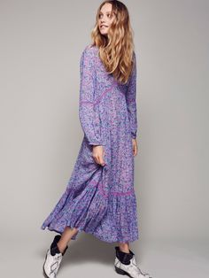 Wildflower Maxi Dress | Oversized sheer maxi dress with a pretty floral print allover. Features cute crochet accents throughout and a femme ruffled bottom. Elastic at the sleeve cuffs. Separate full slip.
