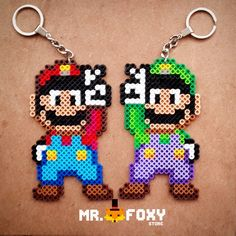 Mario and Luigi keyrings hama beads by Mr. Foxy Store