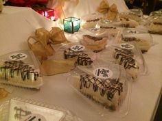 The guests loved grabbing slices on the way out! Layer Cheesecake, Party Favors, Baking, Board, Desserts, Tailgate Desserts, Deserts, Bakken, Postres