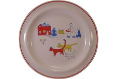 "Midcentury Scandinavian Story Plate 8""Dia. to display on easel atop Dresser with Yellow Lamp"