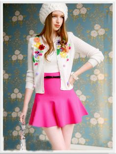 Morpheus Boutique  - White Floral Knit Ruffle Long Sleeve Knit Sweater Jacket