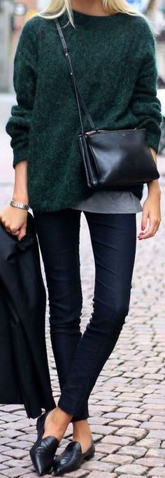 Cool Cute Outfits This emerald green sweater goes so perfect with these black flats... Check more at http://24shopping.cf/my-desires/cute-outfits-this-emerald-green-sweater-goes-so-perfect-with-these-black-flats-2/