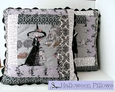 DIY Quilted Ghastly Halloween Pillows - The Polka Dot Chair: good idea for my ghastly fabric