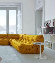 Sectional upholstered fabric sofa Togo Collection by Deco Furniture, Sofa Furniture, Furniture Design, Blue And Yellow Living Room, Feng Shui, Sofa Design, Interior Design, Italia Design, Décor Boho