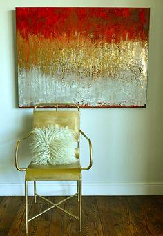 Diy canvas art, abstract canvas, gold leaf art, feuille d'or, abstract Gold Leaf Art, Gold Art, Abstract Canvas Art, Diy Canvas Art, Deco House, My New Room, Painting Inspiration, Diy Art, Liquitex