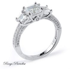 $126 Sterling Silver Engagement Ring, Bridal, CZ Stone www.ringsparadise.com