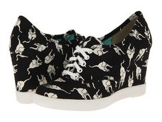 Black & White Cat Print Wedge Sneakers (Don't judge me. #catlady)