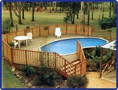 above ground pools -love the deck around .. what I want for our pool