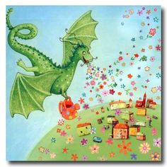 Square card folded by Mila Marquis by MarquisWonderland on Etsy Tiny Dragon, Dragon Art, Nursery Pictures, Dragon Pictures, Dragon Pics, Cute Dragons, Fairytale Art, Square Card, Fantastic Art