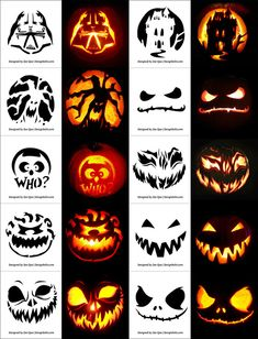 Free Printable Halloween Pumpkin Carving Stencils, Patterns, Designs, Faces & Ideas Free P Pumpkin Carving Templates Free, Minion Pumpkin Carving, Scary Pumpkin Carving Patterns, Awesome Pumpkin Carvings, Halloween Pumpkin Carving Stencils, Amazing Pumpkin Carving, Free Pumpkin Stencils, Dremel Pumpkin Carving, Pumpkin Carving Party
