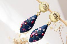 Navy blue earring, dark blue, colorful earrings, vintage earrings, Royal Blue, cobalt blue, romantic, gift for her, polymer clay, pink