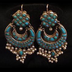 Iran | Old pair of earrings; 20k gold, turquoise and pearls | Sold