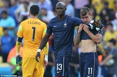 Rarely seen: Mangala, consoling Antoine Griezmann, did not play a minute at the World Cup...