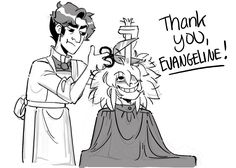 A late-arriving The Glass Scientists charity drive drawing for Evangeline! She requested Jekyll cutting Hyde's hair. He would be terribly miffed by its disorganiztion.