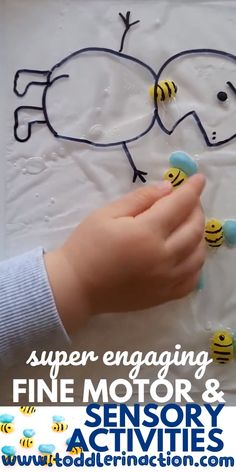 DIY Honey Bees - Fine Motor and Sensory Activities Sensory Bags, Indoor Toddler Activities at Home - These super engaging fine motor and sensory toddler activities with our DIY honey bees are so much - Indoor Activities For Toddlers, Toddler Learning Activities, Montessori Activities, Infant Activities, Toddler Preschool, Toddler Activity Bags, Educational Activities For Preschoolers, Preschool Activities At Home, Montessori Baby