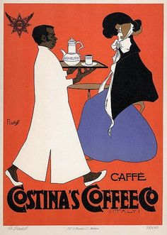 Vintage Italian coffee advertising poster.