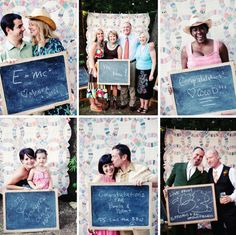Photobooth/Guestbook- Here is a way of having a photobooth and a guestbook. Have a large chalkboard and have them write a message and their name. Set up a cute photobooth and have your photographer take the 2 pictures on a polaroid camera. Give one photo Diy Photo Booth, Wedding Photo Booth, Photo Booth Backdrop, Wedding Photos, Photo Booths, Photobooth Idea, Photo Props, Wedding Guest Book, Diy Wedding