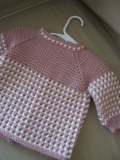 06 by ForBabyCreations Crochet Pink Rose White Girl Sweater. 06 by ForBabyCreations Crochet Girls, Crochet Baby Clothes, Girls Sweaters, Baby Sweaters, Easy Knitting Patterns, Crochet Patterns, Pull Bebe, Baby Pullover, Tunisian Crochet