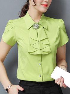 AdoreWe - Fashionmia Band Collar Plain Petal Sleeve Blouse - AdoreWe.com