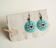 Round felt earrings with flower and heart, felt embroidered earrings By Suyika on Etsy