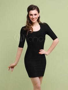 Elegant Black Rayon Scoop Neck Half Sleeves Bodycon Dress
