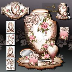 Beautiful Present for Ladies on Craftsuprint designed by Atlic Snezana - Beautiful Present for Ladies: 4 sheets for print with decoupage for 3 D effects and sentiment tags - Now available for download!