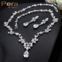 Pera Luxury Cluster Flower Marquise Cubic Zirconia Drop Necklace And Earrings Bridal Wedding Costume Jewelry Set For Brides J036 #Affiliate