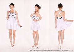 Doloris cross back LWD with delicate sequin polkadots