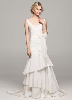 David's Bridal Collection Taffeta Scoop Neck Ruched Bridal Gown with Tiering Style Wedding Dresses Size 14, Bridal Wedding Dresses, Party Dresses, Wedding Gown Preservation, Davids Bridal, Bridal Collection, Marie, Scoop Neck, Wedding Dreams