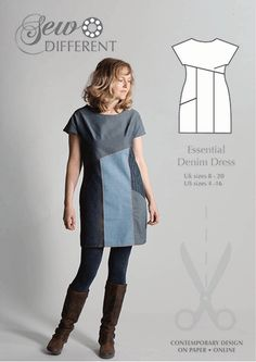 Patterns: Essential Denim Dress: if you join the front panels, put in a welt pocket & add a bit of length this pattern gives you her 'A-Line Assymetrical Dress', another lovely style from Laura Casey! Paper pattern, ships from UK.