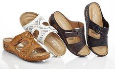 Lady Godiva Comfort Wedge Women's Slip-On Sandals Womens High Heels, Womens Flats, Vans Shoes Women, Women Sandals, Lady Godiva, Shoes With Jeans, Mens Slippers, Ciabatta, Ladies Slips