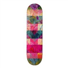 Vibrant Colorful Abstract Pink Plaid Funky Pattern Skate Board Deck | Skateboards for Girls