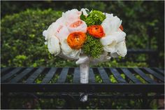 Ivory, Blush, Coral & Lush Green Bridal Bouquet | Photo: Steve Lee Photography