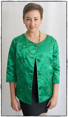Vintage 1960s Asian Style Jade Green Silk Brocade Formal Jacket Sz L