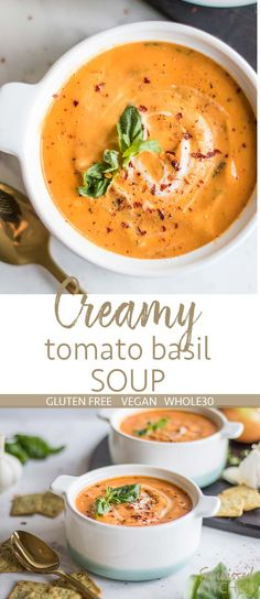 Creamy Vegan Tomato Basil Soup / This Whole30 tomato soup is perfect for anyone who needs to go dairy free! A velvety smooth blend of veggies, cashews and tomatoes. | SUNKISSEDKITCHEN.COM | #whole30 #soup #dairyfree #glutenfree #vegan #tomatosoup #tomatobasil #tomatobasilsoup