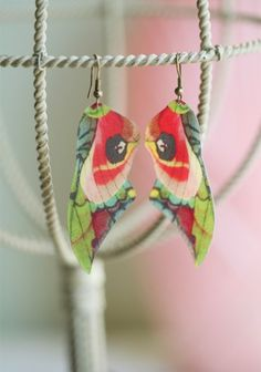 On the Wings of a Butterfly Indie Earrings.  Though the mental images are rather horrific when one considers how these would be made, they are very pretty.