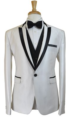 White and black tuxedo.