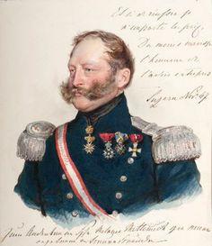 """Joseph KRIEHUBER (Vienne, 1800-1876)  Fürst Friedrich zu Schwarzenberg (1800-1870) aquarelle, dated """"luzern, november 1847""""."""