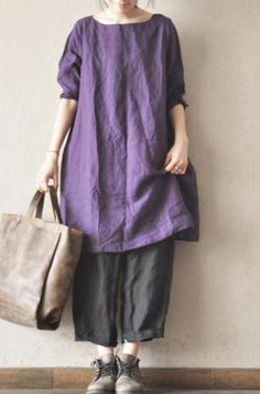Image of Purple Linen Dress Causel Women Clothes 1920s Fashion Women, Womens Fashion, Coats For Women, Clothes For Women, Linen Dresses, Cotton Linen, Cotton Fabric, Stylish Outfits, Stylish Clothes