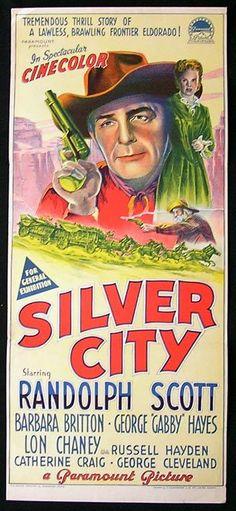 ALBUQUERQUE (1948) - Randolph Scott - Barbara Britton - George 'Gabby' Hayes - Lon Chaney Jr. - Russell Hayden - Catherine Craig - George Cleveland - Directed by Ray Enright - Paramount - Australian movie poster.
